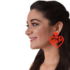 Babe (Orange) - Heart shaped Neon Acrylic Earrings