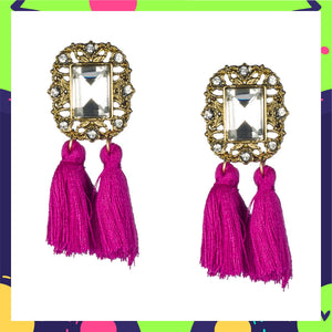 Mirror On The Wall - Violet - Tassel Earrings with Crystal Stone