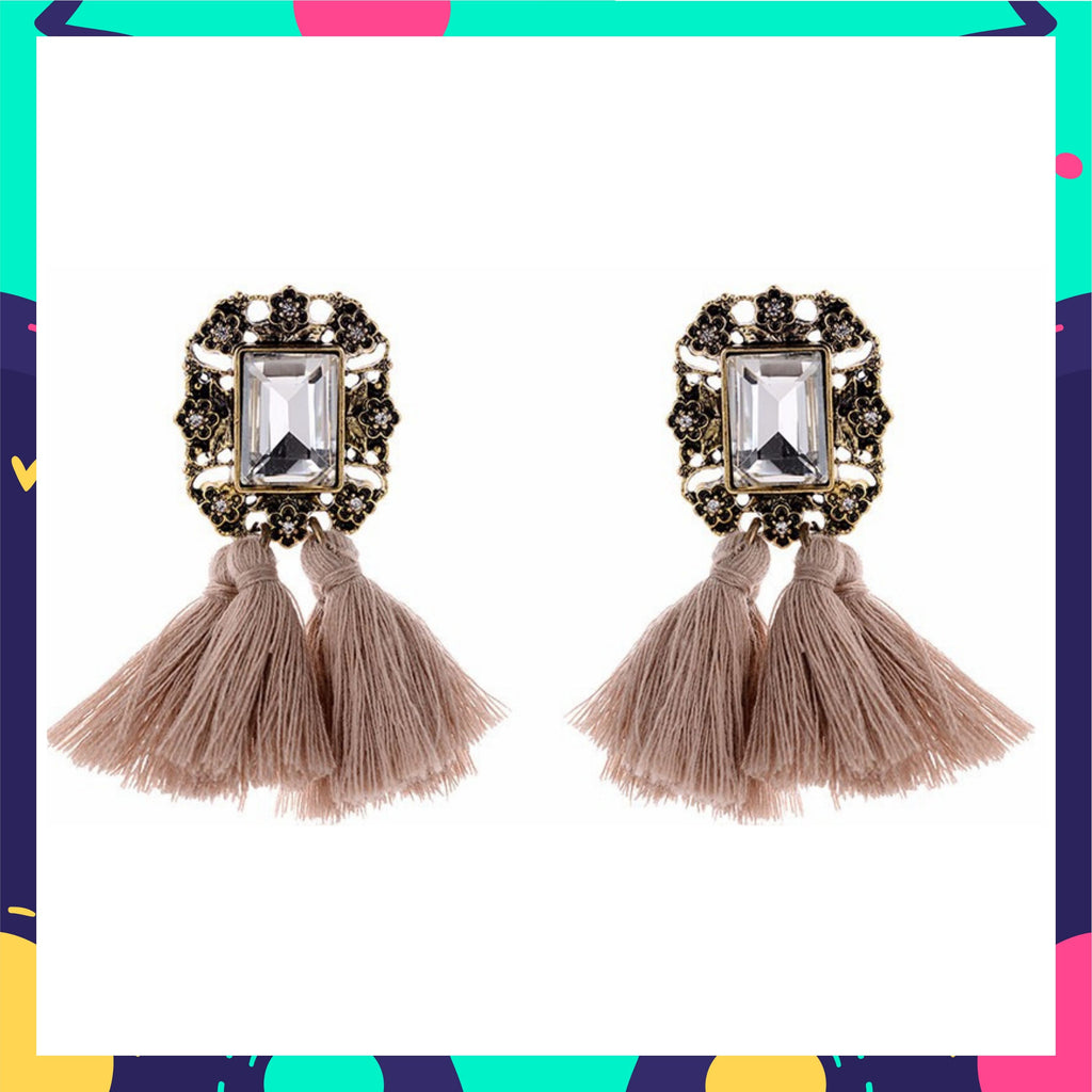Mirror On The Wall - Nude - Tassel Earrings With Crystal Stone