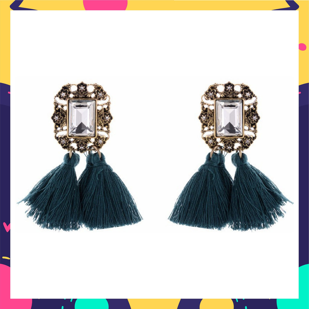 Mirror On The Wall - Green - Tassel Earrings with Crystal Stone