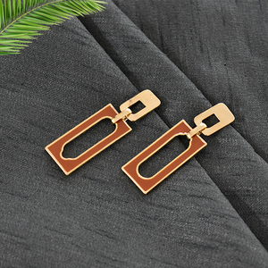 Evelyn Brown - Rectangular Dainty Stud Earrings