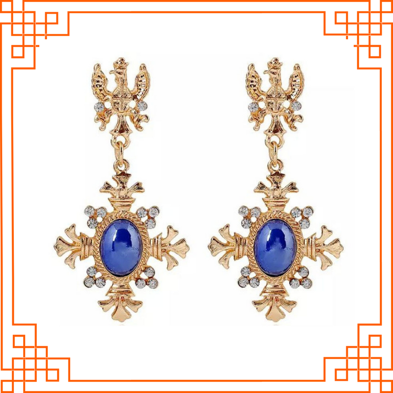 Baroque Beauty - Blue - Golden Vintage Earrings With Blue Stone