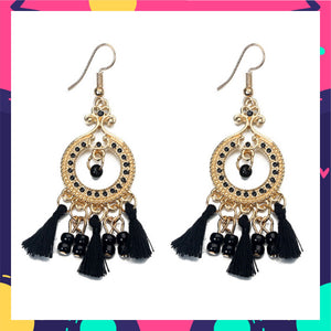 Tinkerbell - Coal - Black tassel and Bead Earrings
