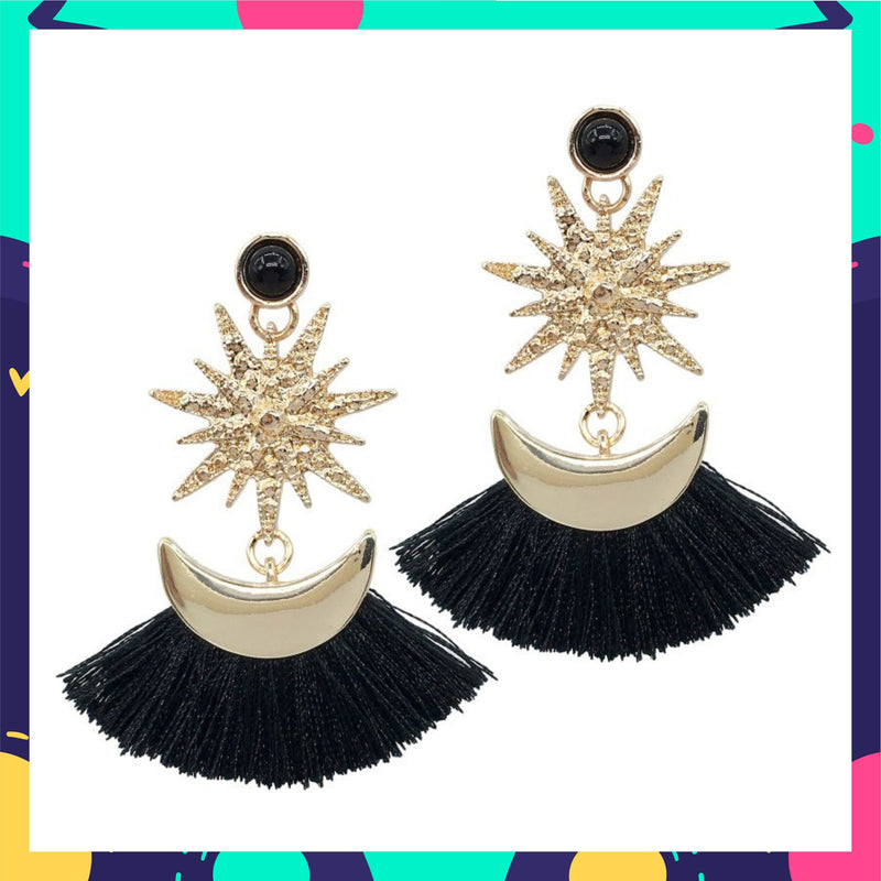 Sparkler Black - tassel earrings