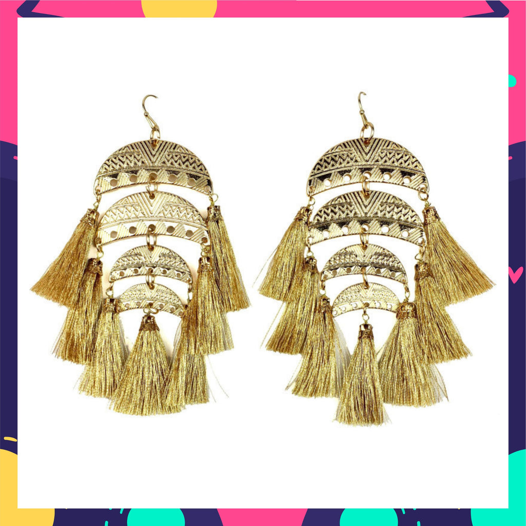 Golden Wraves - Layered Hook Earrings with Golden Tassels