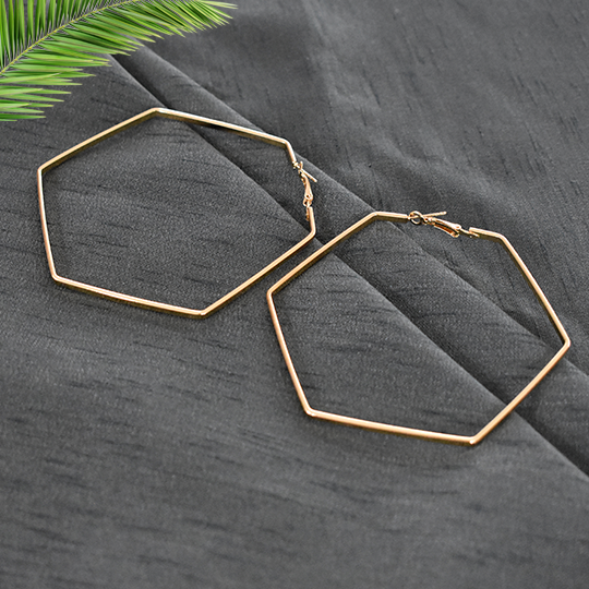 Marie - Gold - Hexagonal Large Hoop Earrings
