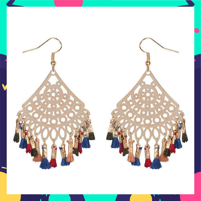 Filigree Filters - Multicolour - Tassels Hook Earrings