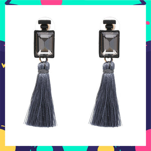 Opera - Steel - Crystal and Tassel Earrings