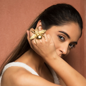 Sara Ali Khan In Knick Knack Nook Bug Life Ring - Golden Statement Bug Ring