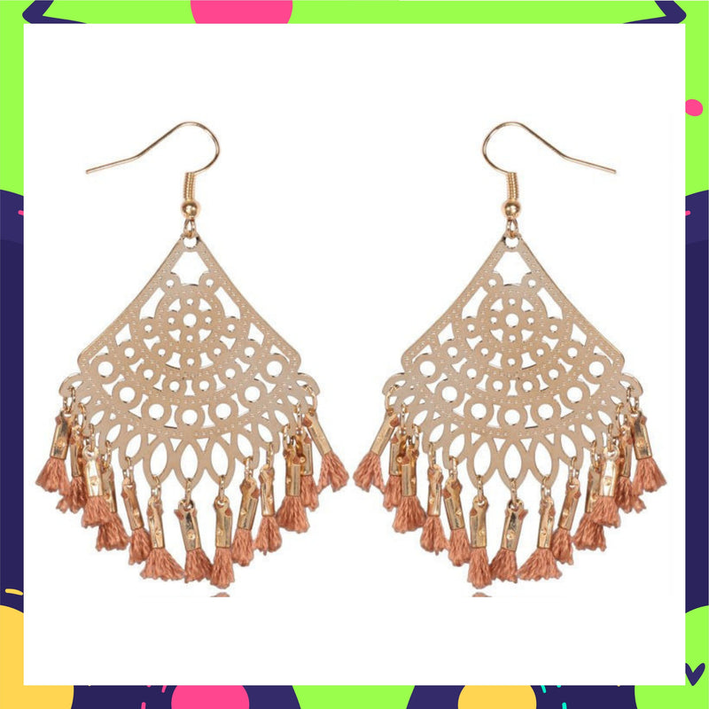 Filigree Filters- Beige - Tassels Hook Earrings