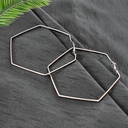 Marie - Silver - Hexagonal Large Hoop Earrings