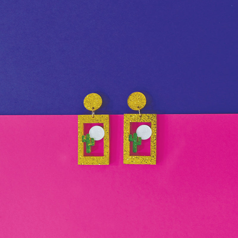 Cactus - Glitter Acrylic Quirky  Earrings