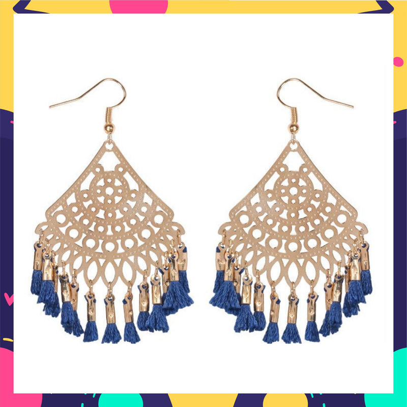 Filigree Filters- Blue - Tassel Hook Earrings
