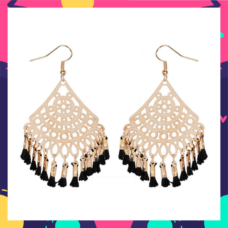 Filigree Filters- Black - Dainty Tassel Hook Earrings
