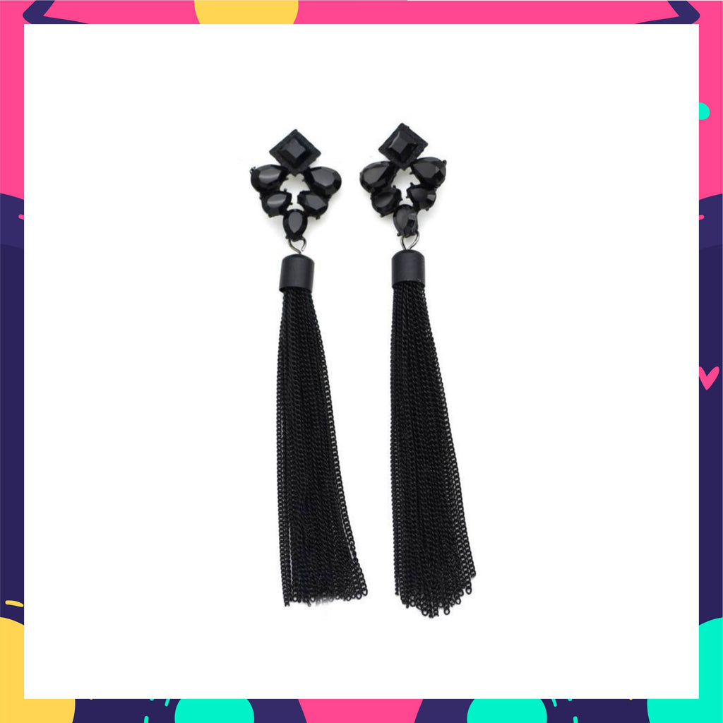 Black Spade - Stone Studded Metal Tassel Chain Earrings