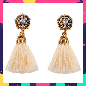 Crown Jewel - Beige- Dainty Stud Tassel Earrings