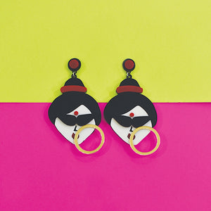 Jhilmil Jhakaas - Multicoloured Face Acrylic Earrings