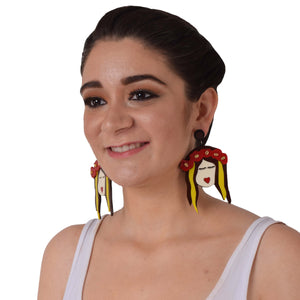 Frida Freespirited- Sunny - Multicoloured  Acrylic Face Earrings