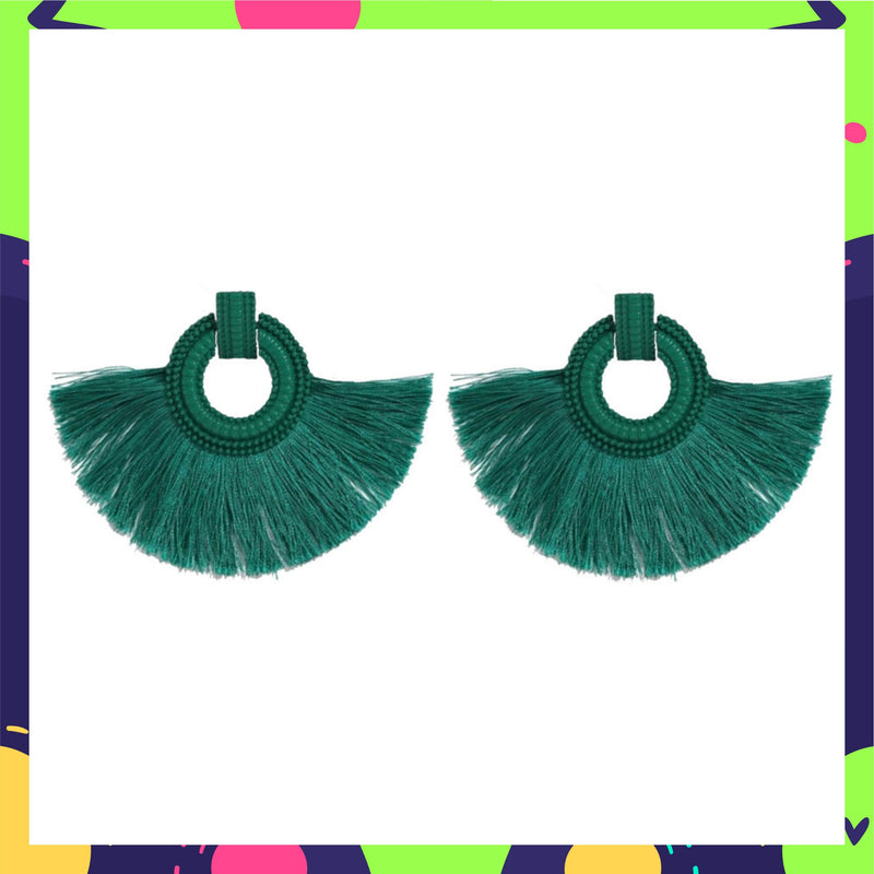 Wild Plumage- Sea Green - Tassel Earrings
