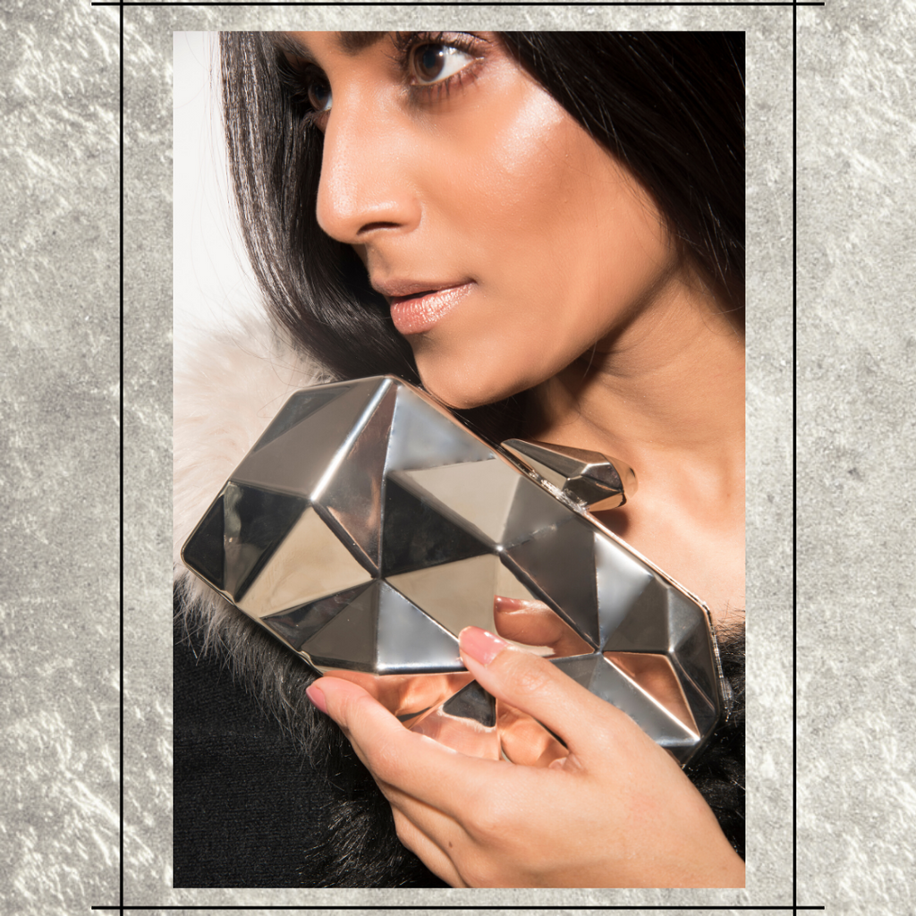 Argentum Clutch - Silver Geometric Metallic Clutch Bag