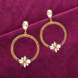 Golden Lady - Glitter Circular Earrings With Stone Flowers