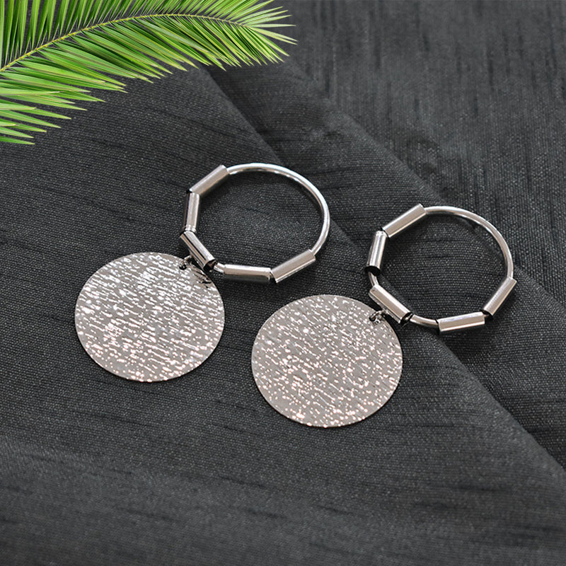Arabella Silver - Metal Shimmery Disc Hoop Earrings