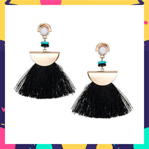 Chica - Black - Beaded Tassel Earrings