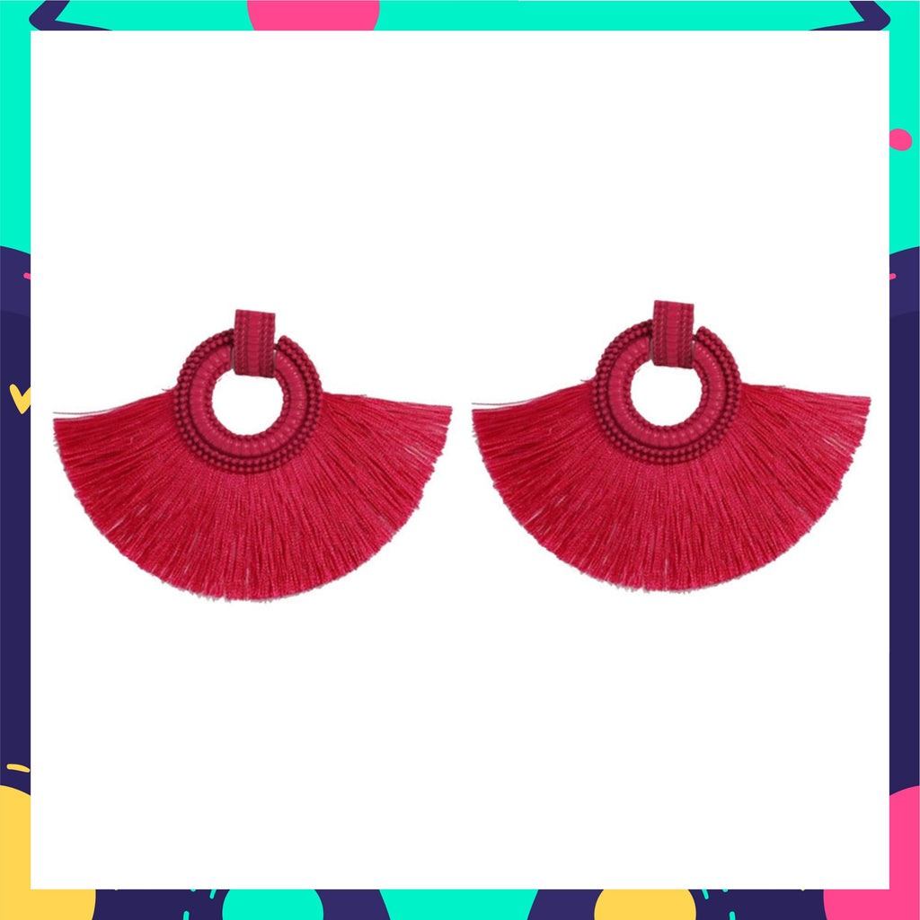 Wild Plumage- Hot Pink - Tassel Earrings