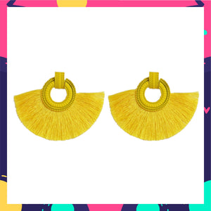 Wild Plumage- Yellow - Tassel Earrings