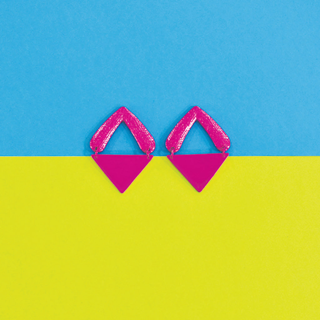 Tip of the Iceberg- Pink - Metal Triangular Earrings