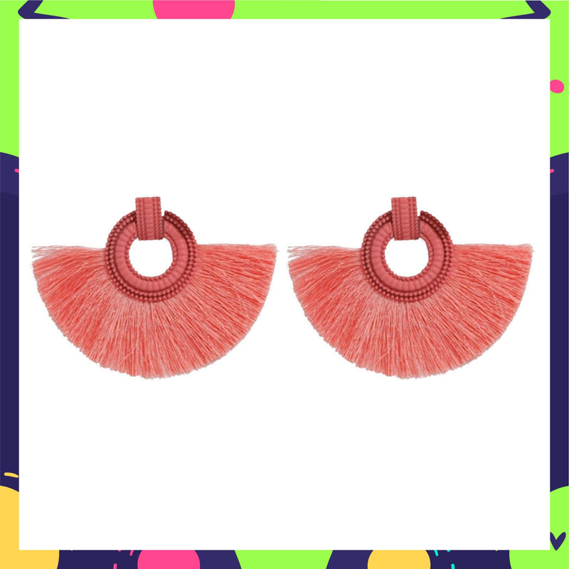 Wild Plumage- Peach - Tassel Earrings