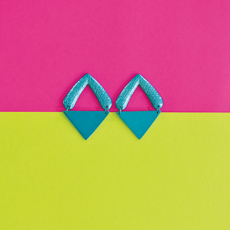 Tip of the Iceberg- Blue - Metal Triangular Earrings