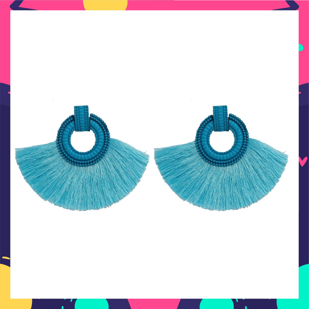 Wild Plumage- Blue - Tassel Earrings