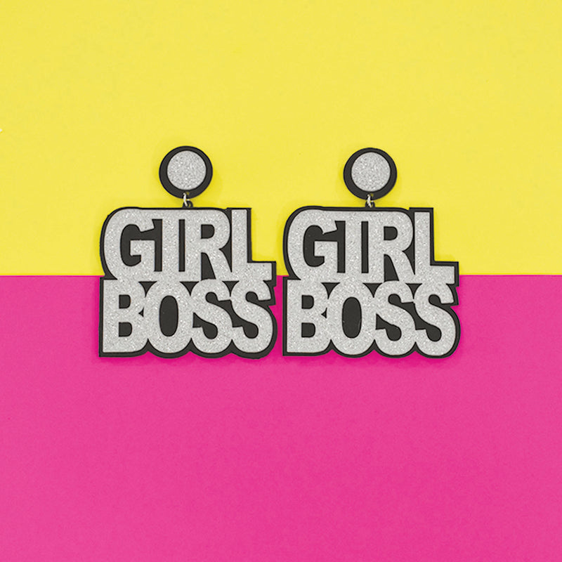 Girl Boss- Glitter - Acrylic Earrings