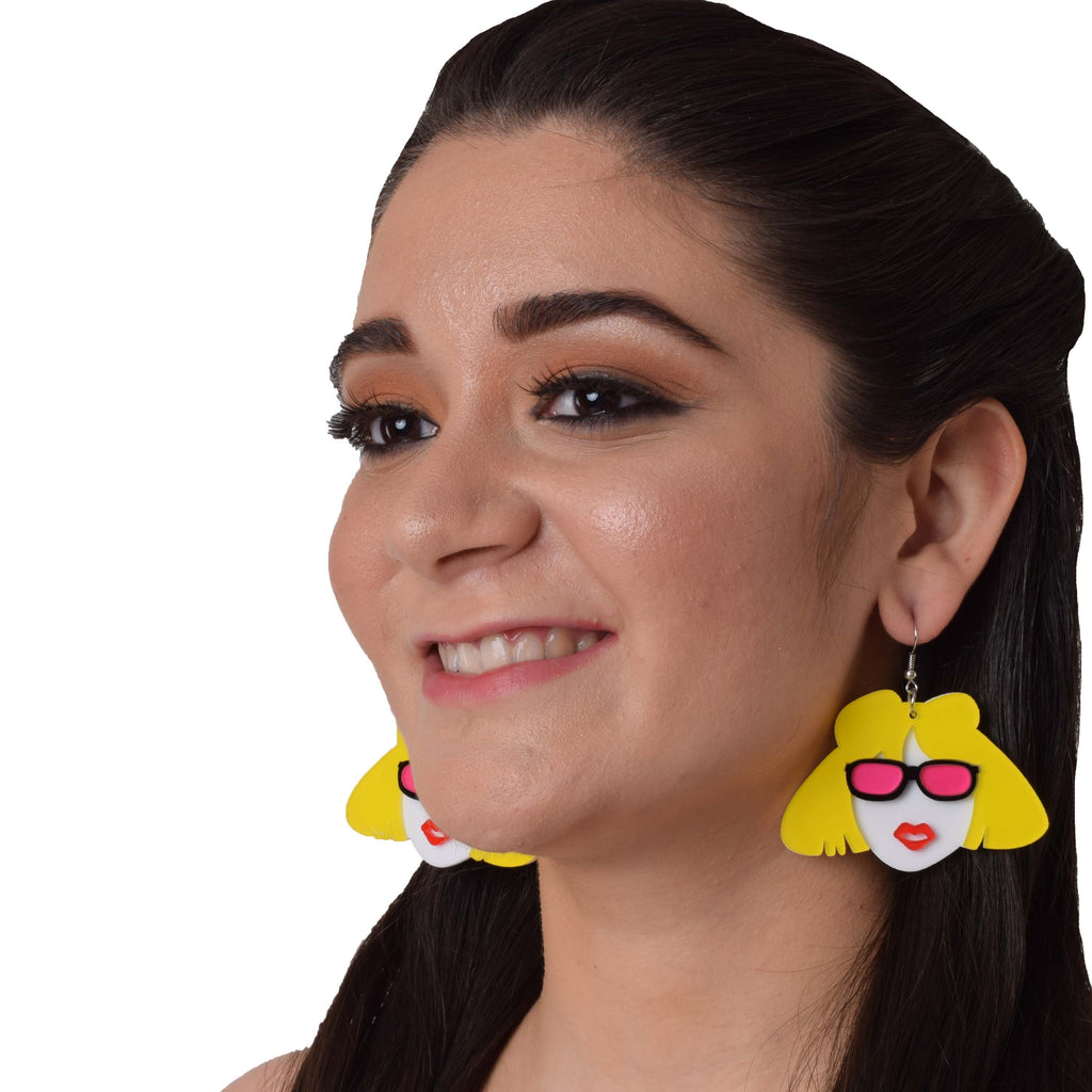 Poker Face - Multicoloured Face Acrylic Hook Earrings