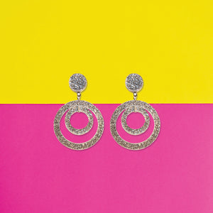 Glitter Hoops - Quirky Acrylic Earrings