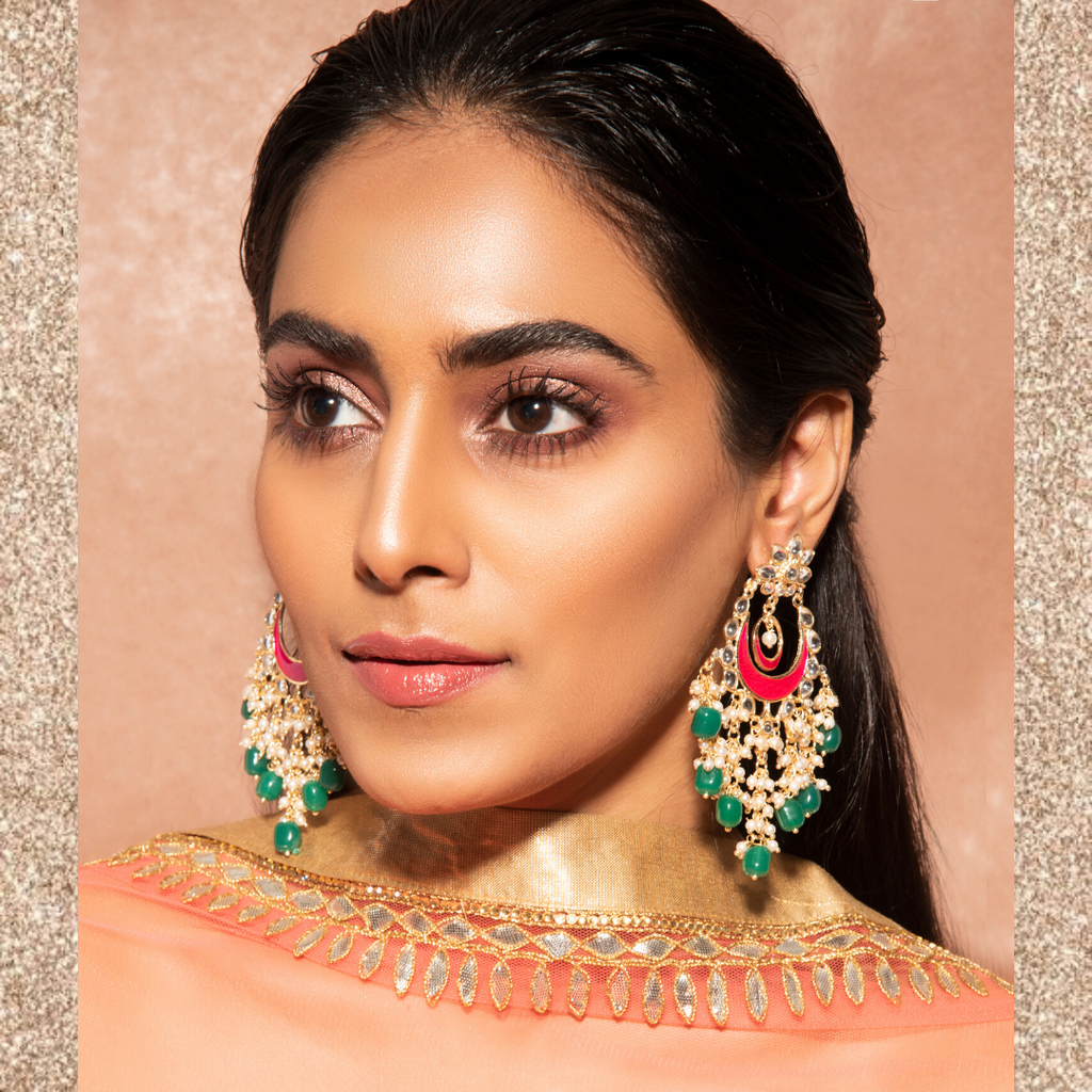 Taara Earrings - Heavy Indian Chanda Long Beaded Earrings