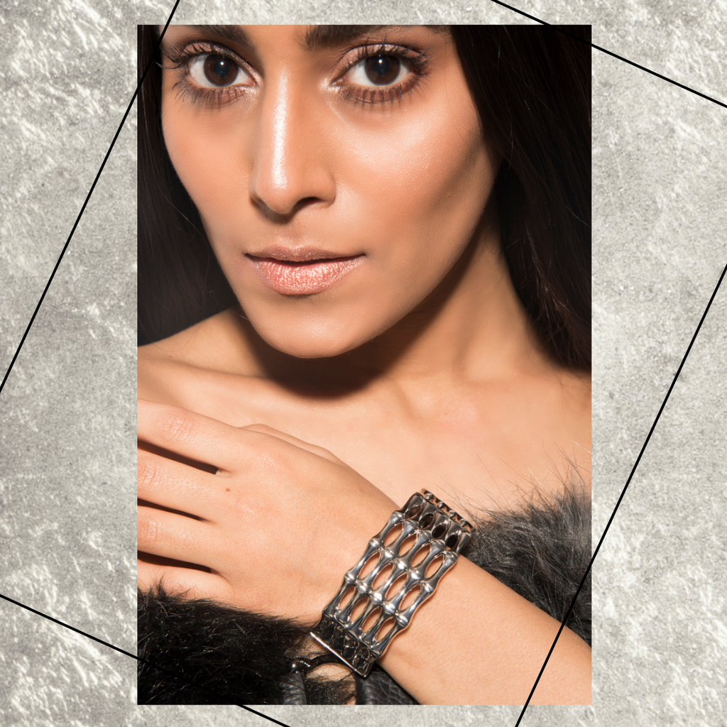Titanium Cuff - Silver Metallic Closed Chain Cuff Bracelet
