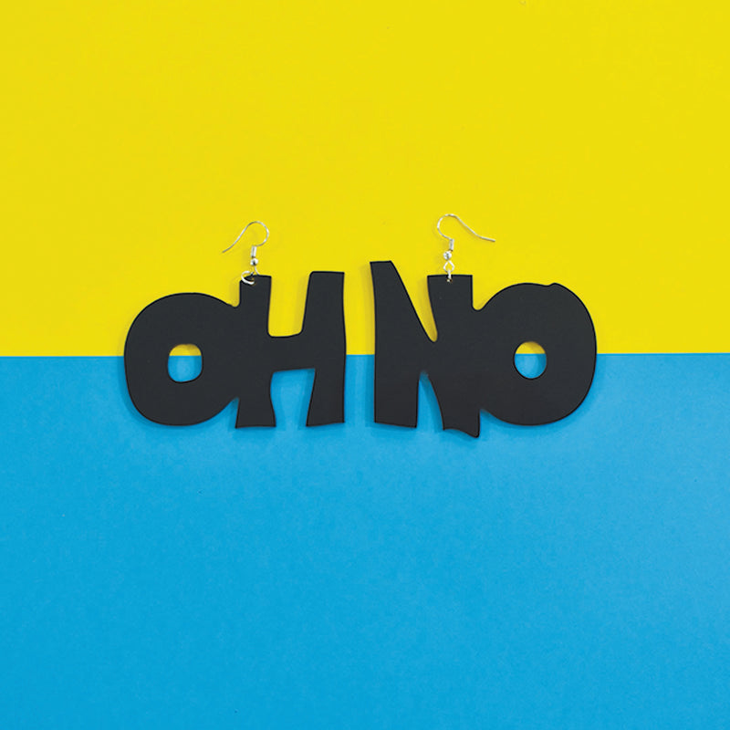 Oh No! - Black - Acrylic Earrings