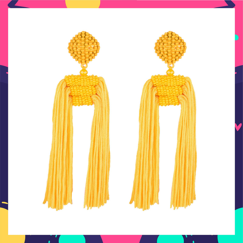 Tropical Mango Earrings -Long Beaded Tassel Earrings