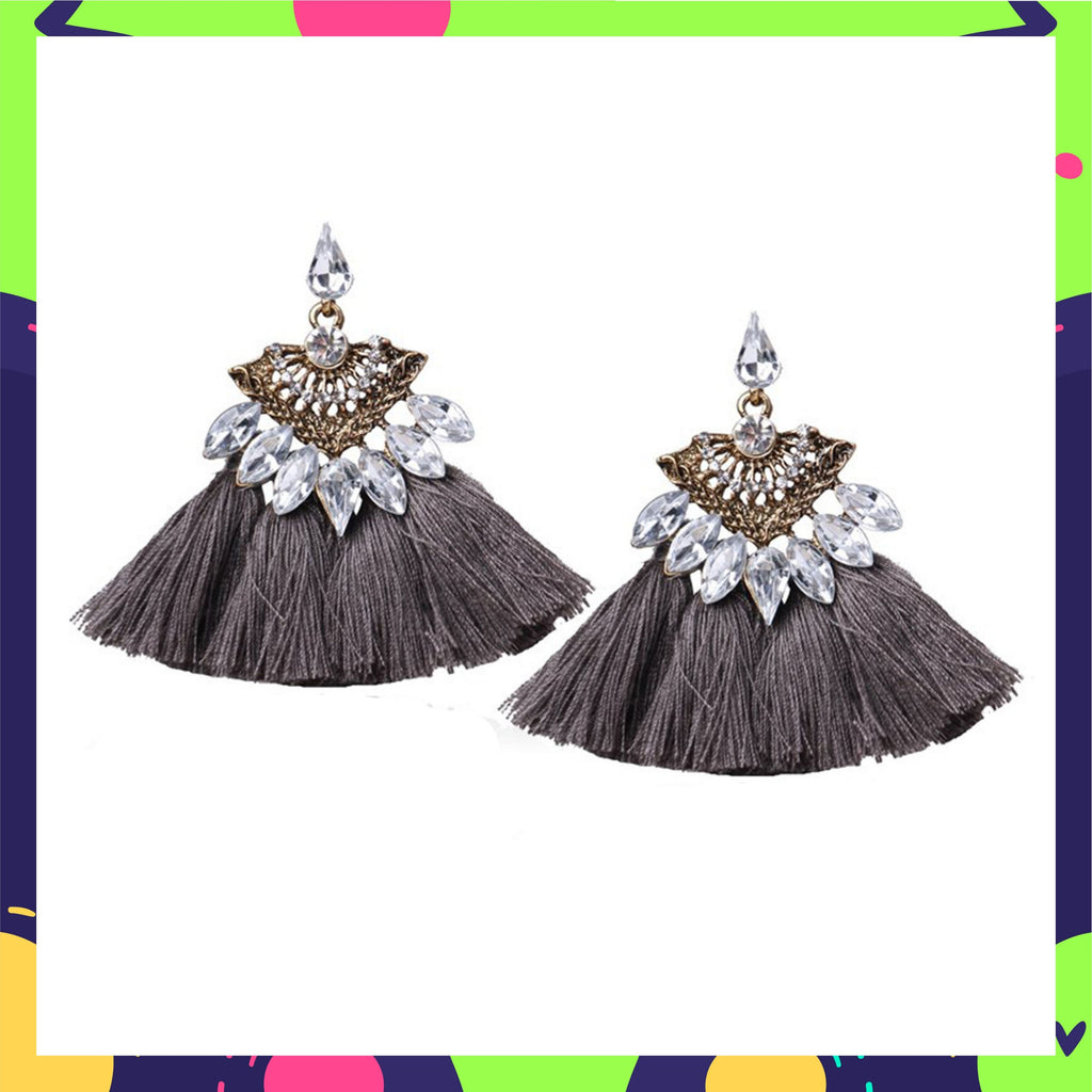 Eye Of The Peacock - Grey - Stone Studded Tassel Earrings