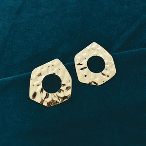 Manhattan -  Wrinkled Gold Metal Earrings