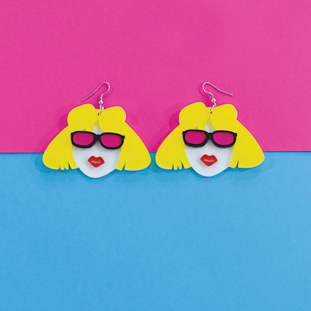 Poker Face - Multicoloured Face Acrylic Earrings