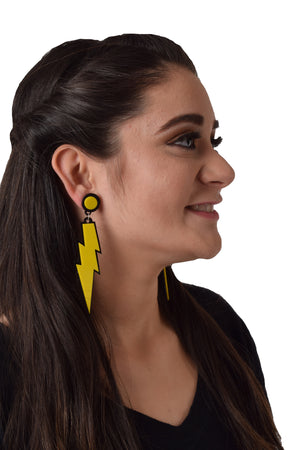 Urvashi Rautela In Knick Knack Nook Yellow Lightening Earrings - Quirky Acrylic Thunder Earrings