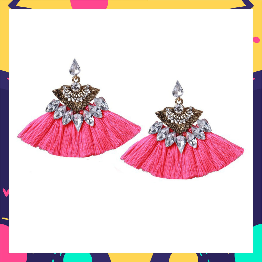 Eye Of The Peacock - Pink - Stone Studded Tassel Earrings