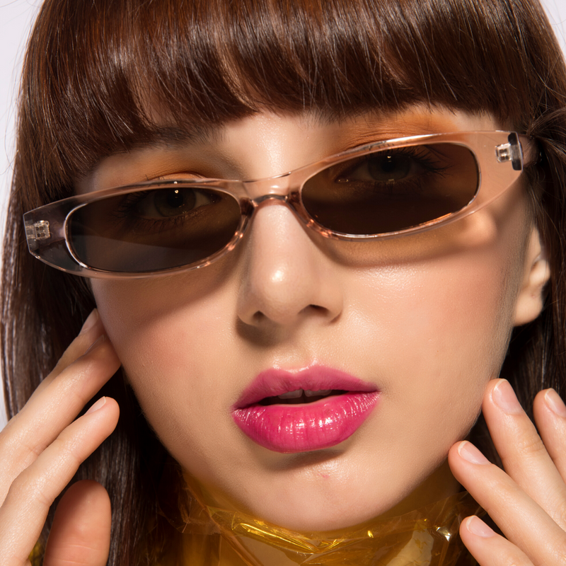 Slim Jim - Tea - Funky Sleek Rectangular Sunglasses