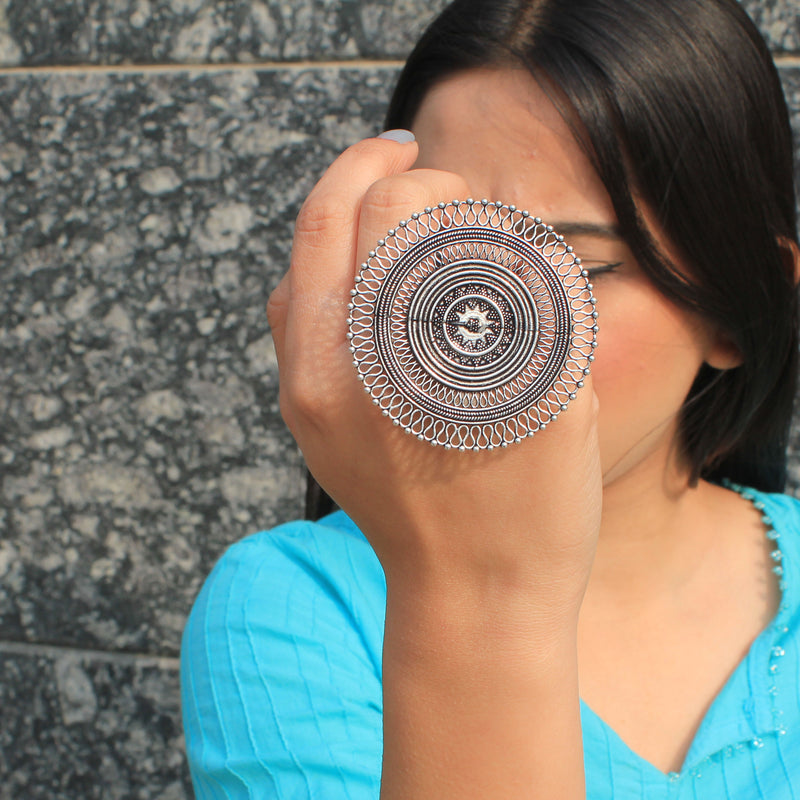 Ajanta - Big Circular Oxidized Silver Ring