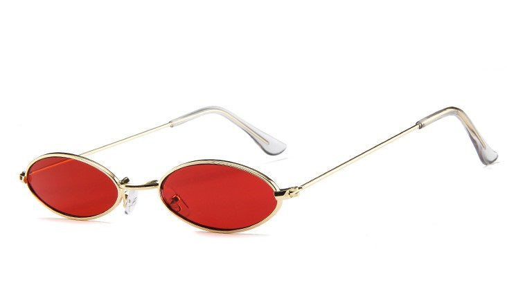 All Oval Me - Red - Sleek Oval Frame Metal Sunglasses