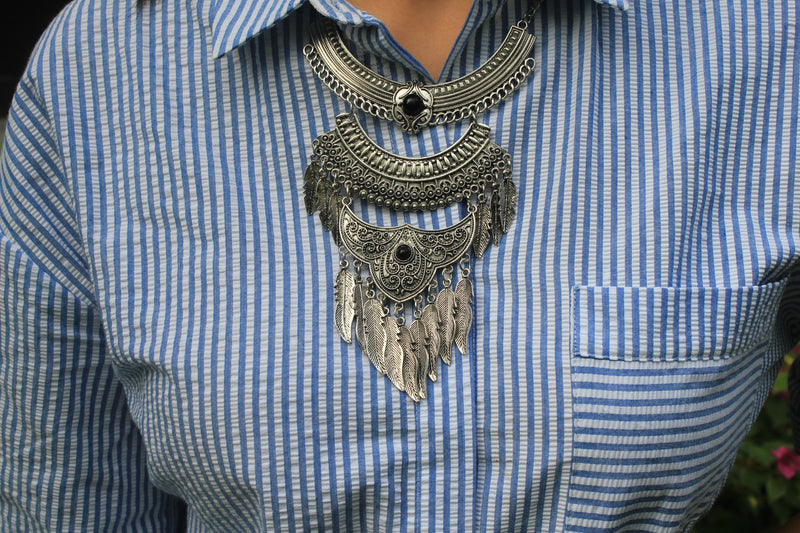 Amrapali - Layered Oxidized Silver Necklace