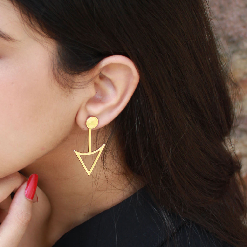 Anne Gold - Metal Arrow Stud Earrings